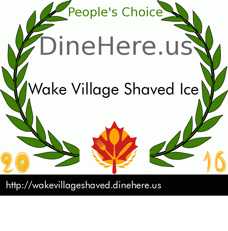 Wake Village Shaved Ice DineHere.us 2016 Award Winner